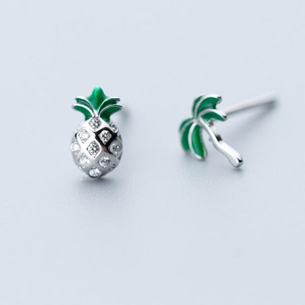 Sterling Silver Pineapple Coconut Tree Earrings - 925 Stud Earrings - 925 Real Silver Earrings - Playful Silver Earrings - Traditional Silver Earrings Lux & Rose Default Title