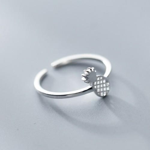 Sterling Silver Pineapple Ring - 925 Real Silver Ring - Classic Silver Ring - Adjustable Cocktail Ring Lux & Rose