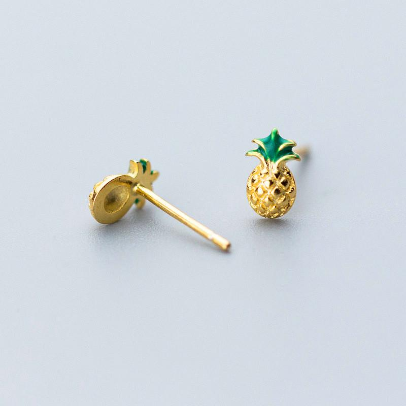Sterling Silver Pineapple Stud Earrings - 925 Stud Earrings - 925 Real Silver Earrings - Playful Silver Earrings Lux & Rose