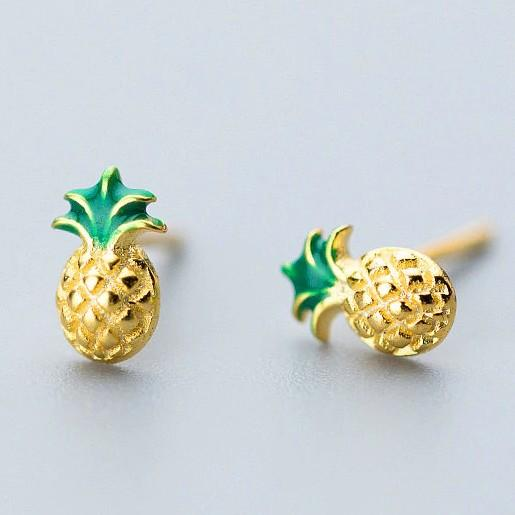 Sterling Silver Pineapple Stud Earrings - 925 Stud Earrings - 925 Real Silver Earrings - Playful Silver Earrings Lux & Rose Default Title