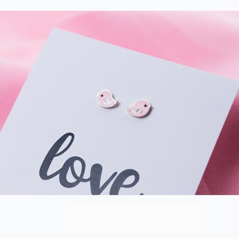Sterling Silver Pink Bird Stud Earrings - 925 Stud Earrings - 925 Real Silver Earrings - Playful Silver Earrings - Cute Silver Earrings Lux & Rose