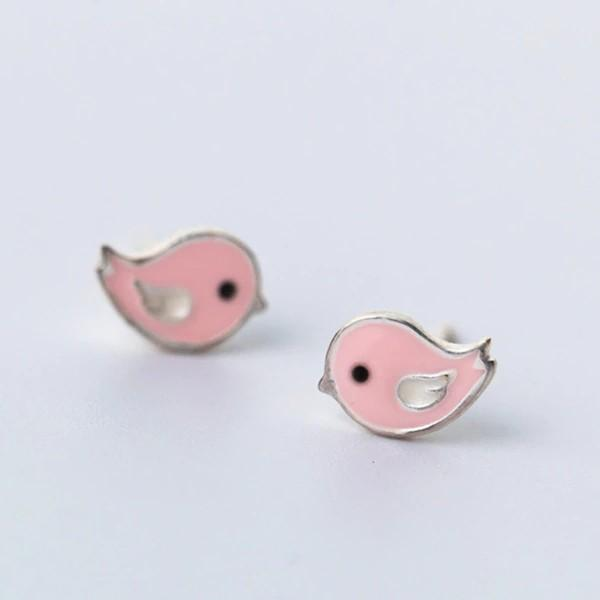 Sterling Silver Pink Bird Stud Earrings - 925 Stud Earrings - 925 Real Silver Earrings - Playful Silver Earrings - Cute Silver Earrings Lux & Rose Default Title