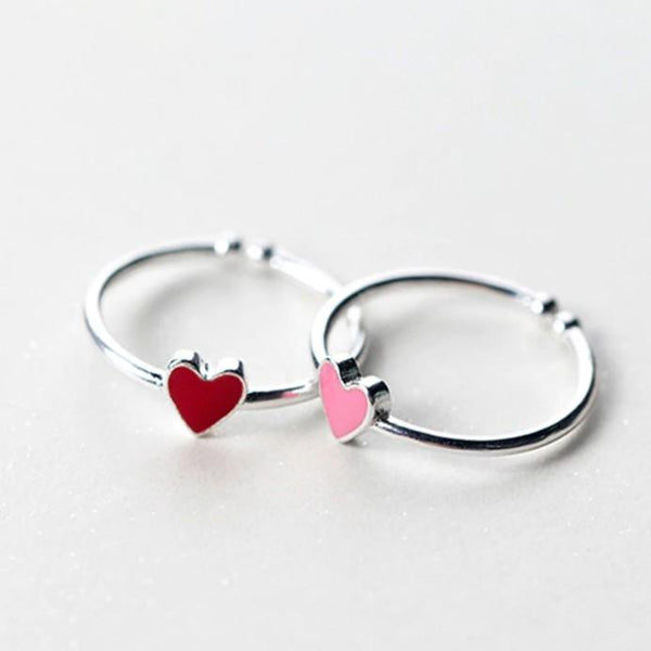 Sterling Silver Pink Red Heart Ring - 925 Real Silver Ring - Classic Silver Ring - Adjustable Cocktail Ring - Nature Inspired Ring Lux & Rose