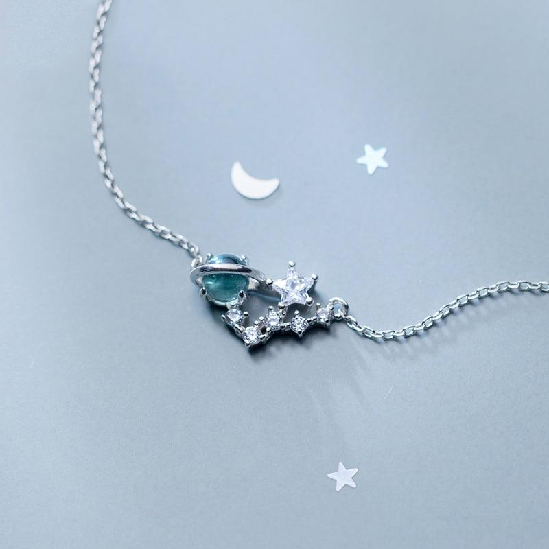 Sterling Silver Planet Stars Pendant Necklace - 925 Real Silver Necklace - Classic Silver Necklace Lux & Rose