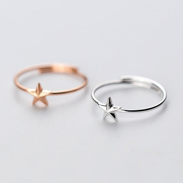 Sterling Silver Plated Star Rings - 925 Real Silver Rings - Classic Silver Rings - Adjustable Cocktail Rings Lux & Rose