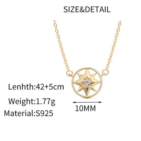Sterling Silver Pole Star Necklace - 925 Real Silver Necklace - Golden Compass Necklace Lux & Rose