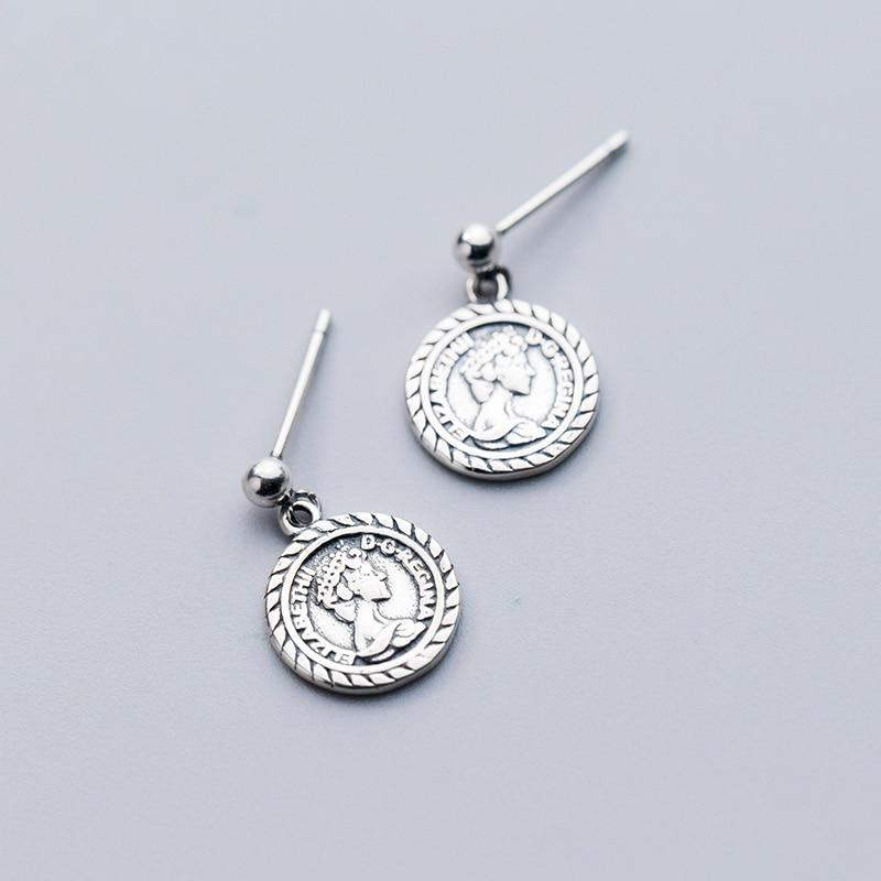 Sterling Silver Queen Coin Earrings - Portrait Dangle Earrings - 925 Real Silver Earrings - Playful Silver Earrings Lux & Rose
