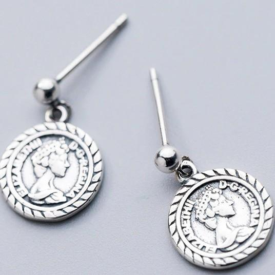 Sterling Silver Queen Coin Earrings - Portrait Dangle Earrings - 925 Real Silver Earrings - Playful Silver Earrings Lux & Rose Default Title
