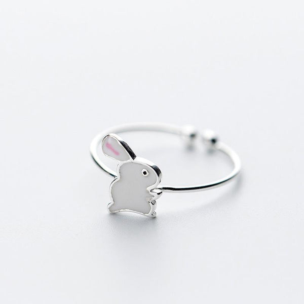 Sterling Silver Rabbit Cocktail Ring - 925 Real Silver Ring - Classic Silver Ring - Adjustable Cocktail Ring Lux & Rose