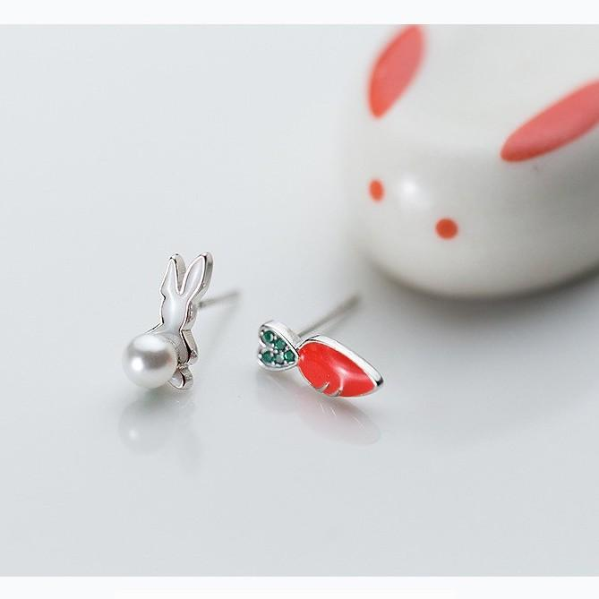 Sterling Silver Rabbit Turnip Stud Earrings - 925 Stud Earrings - 925 Real Silver Stud Earrings - Bunny Turnip Earrings - Bunny Turnip Stud Earrings Lux & Rose