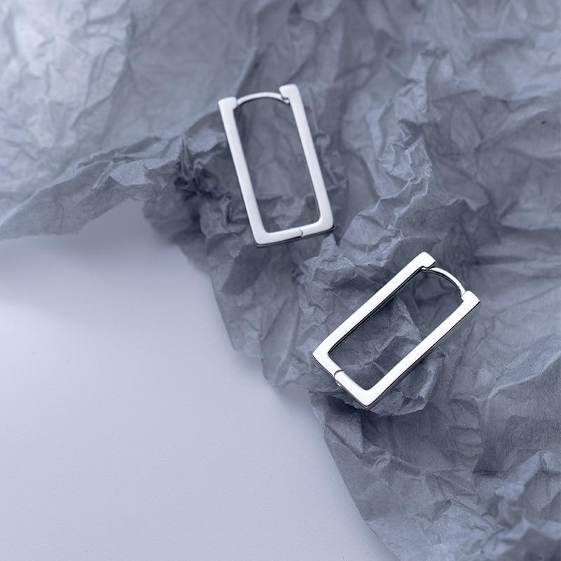 Sterling Silver Rectangle Hoop Earrings - 925 Real Silver Earrings - Playful Silver Earrings Lux & Rose