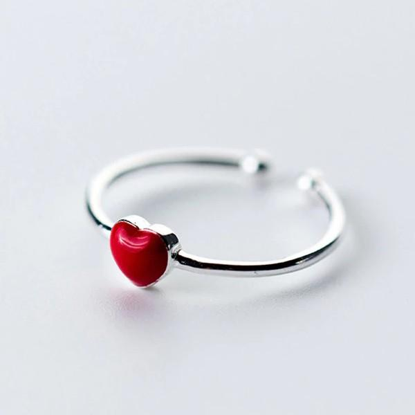 Sterling Silver Red Heart Hollow Ring - 925 Real Silver Ring - Classic Silver Ring - Adjustable Cocktail Ring Lux & Rose