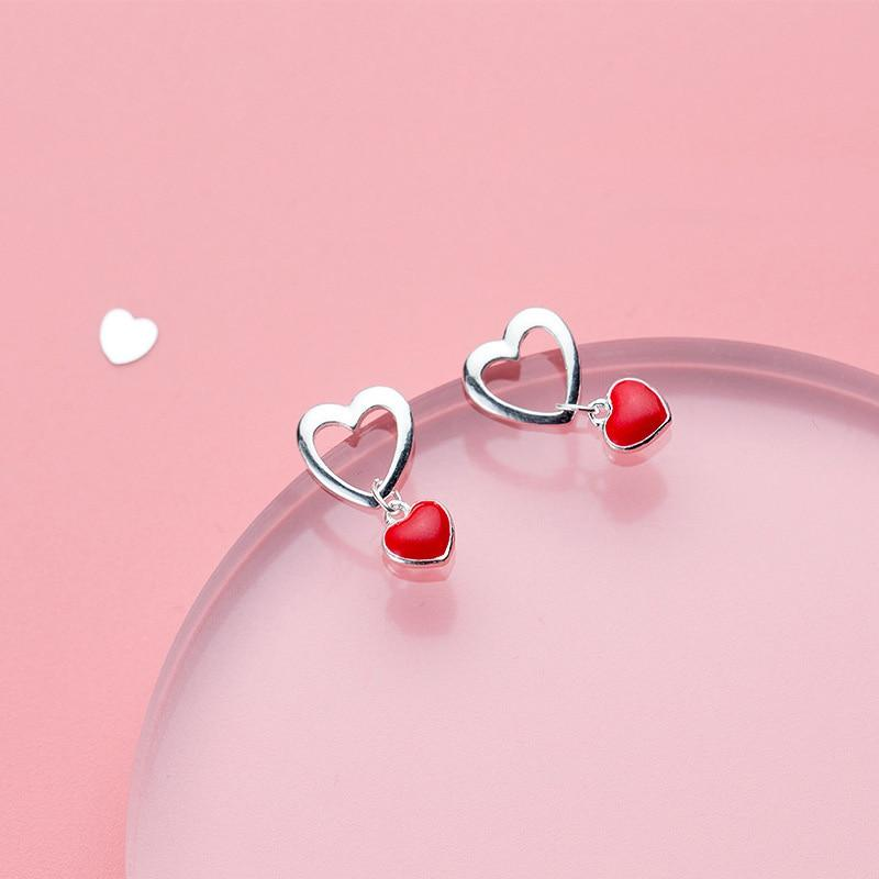 Sterling Silver Red Heart Stud Earrings - 925 Real Silver Earrings - Power Statement Earrings Lux & Rose