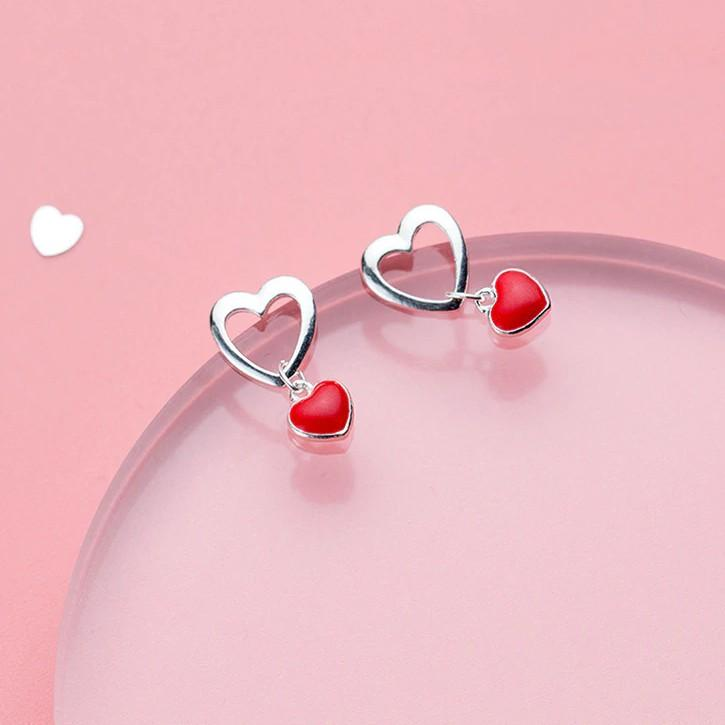 Sterling Silver Red Heart Stud Earrings - 925 Real Silver Earrings - Power Statement Earrings Lux & Rose Default Title