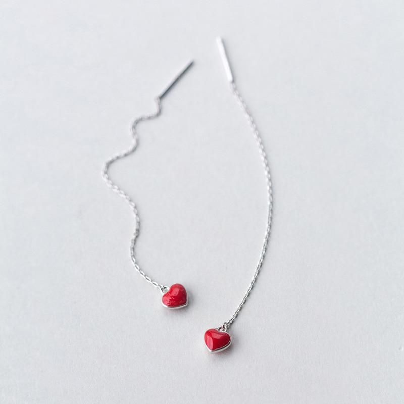Sterling Silver Red Heart Threader Earrings - 925 Real Silver Earrings - Long Chain Earrings - Playful Silver Earrings - Linked Drop Stick Earrings - Modern Needle Threader Lux & Rose