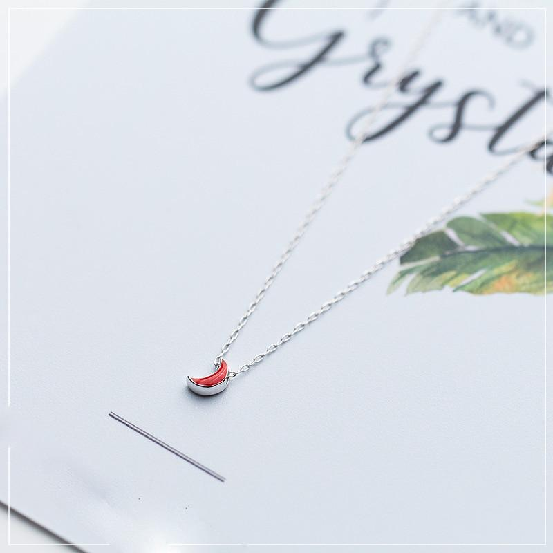Sterling Silver Red Moon Pendant Necklace - 925 Real Silver Necklace - Classic Silver Necklace Lux & Rose
