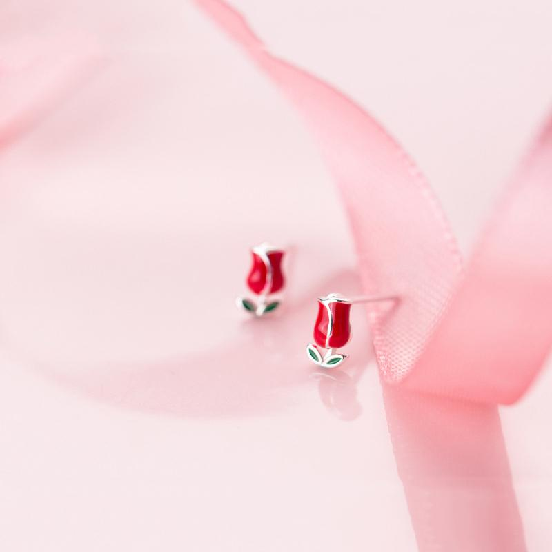 Sterling Silver Red Rose Earrings - 925 Stud Earrings - 925 Real Silver Earrings - Playful Silver Earrings Lux & Rose