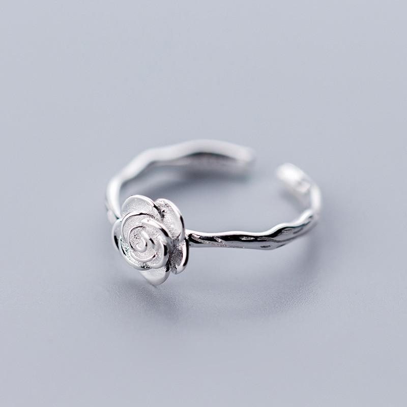 Sterling Silver Rose Blossom Ring - 925 Real Silver Rings - Adjustable Flower Ring Lux & Rose