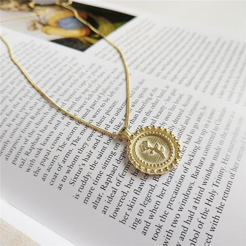 Sterling Silver Rose Flower Gold Disc Pendant Necklace - 925 Real Silver Necklace - Classic Silver Necklace Lux & Rose