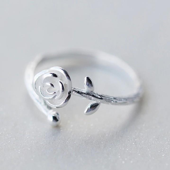 Sterling Silver Rose Ring - 925 Real Silver Ring - Classic Silver Ring - Adjustable Cocktail Ring Lux & Rose
