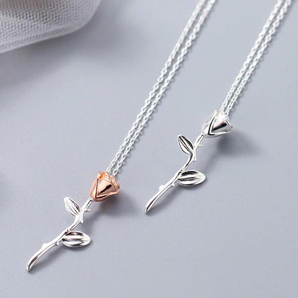 Sterling Silver Rose Short Necklace - 925 Real Silver Necklace - Classic Silver Necklace Lux & Rose