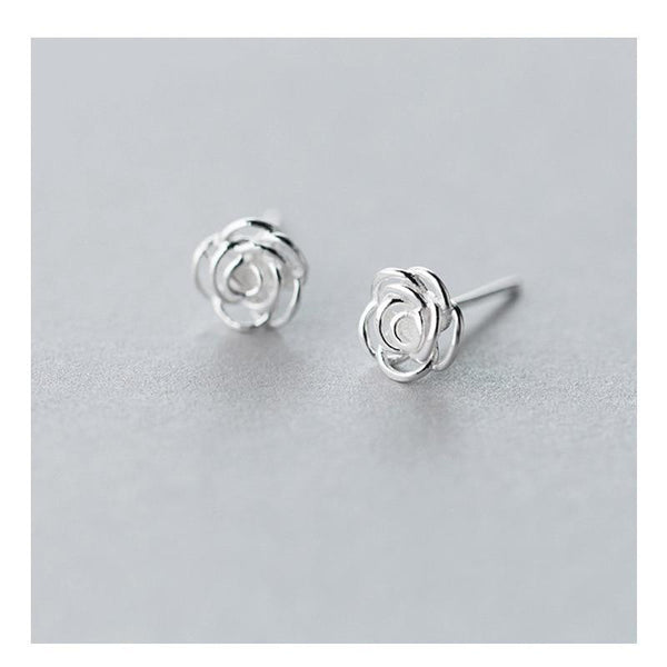 Sterling Silver Rose Stud Earrings - Tiny Flower Ear Studs - Tiny Rose Earrings - Real Silver Rose Studs - 925 Tiny Rose Earrings - Cute Silver Earrings Lux & Rose