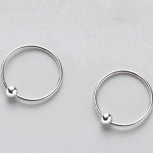 Sterling Silver Round Bead Hoop Earrings - 925 Real Silver Earrings - Playful Silver Earrings Lux & Rose