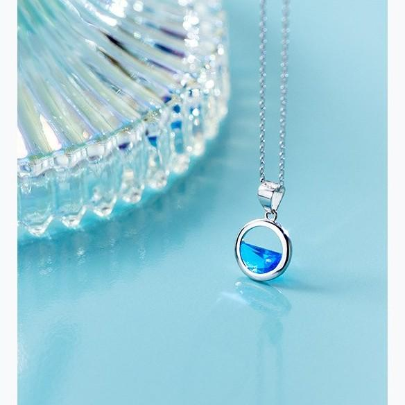Sterling Silver Round Blue Pendant Necklace - 925 Real Silver Necklace - Classic Silver Necklace Lux & Rose