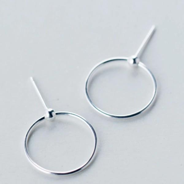 Sterling Silver Round Circle Dangle Earrings - 925 Silver Hoop Style Earring - Dainty Silver Earrings Lux & Rose Default Title