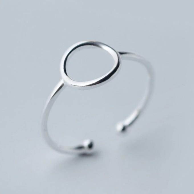 Sterling Silver Round Cocktail Inner Diameter Ring - 925 Real Silver Ring - Classic Silver Ring - Adjustable Cocktail Ring Lux & Rose