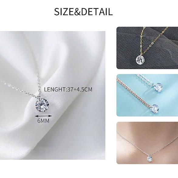 Sterling Silver Round Crystal Pendant Necklace - 925 Real Silver Necklace - Classic Silver Necklace Lux & Rose