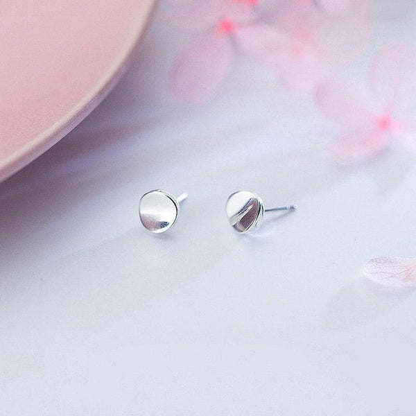 Sterling Silver Round Glossy Stud Earrings - 925 Stud Earrings - 925 Real Silver Earrings - Playful Silver Earrings Lux & Rose