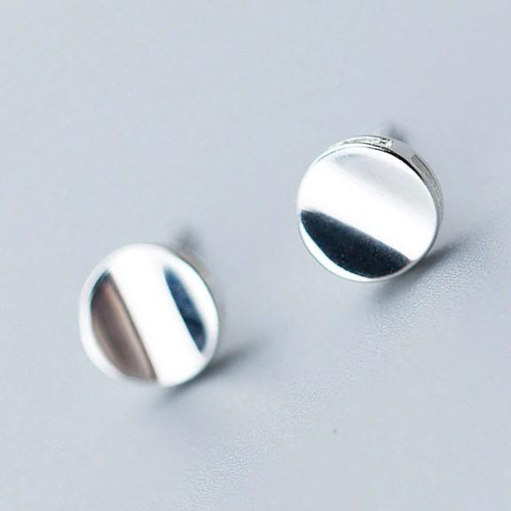 Sterling Silver Round Glossy Stud Earrings - 925 Stud Earrings - 925 Real Silver Earrings - Playful Silver Earrings Lux & Rose Default Title