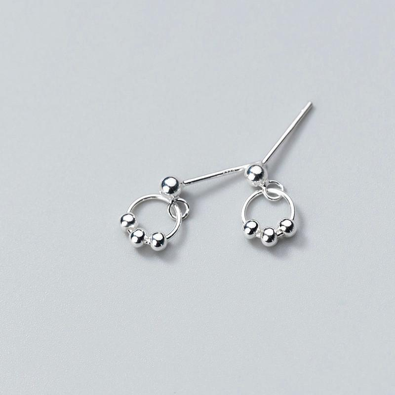 Sterling Silver Round Hoop Beads Earrings - Dangle Earrings - 925 Real Silver Earrings - Playful Silver Earrings Lux & Rose