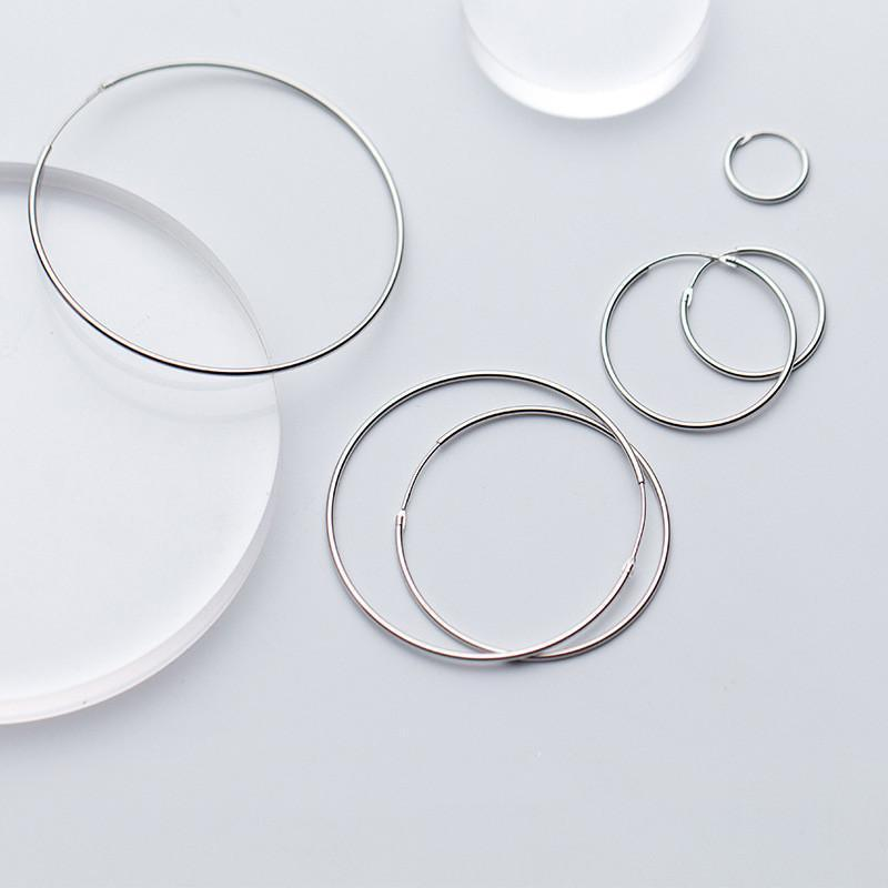 Sterling Silver Round Hoop Earrings - 925 Real Silver Earrings - Playful Silver Earrings Lux & Rose