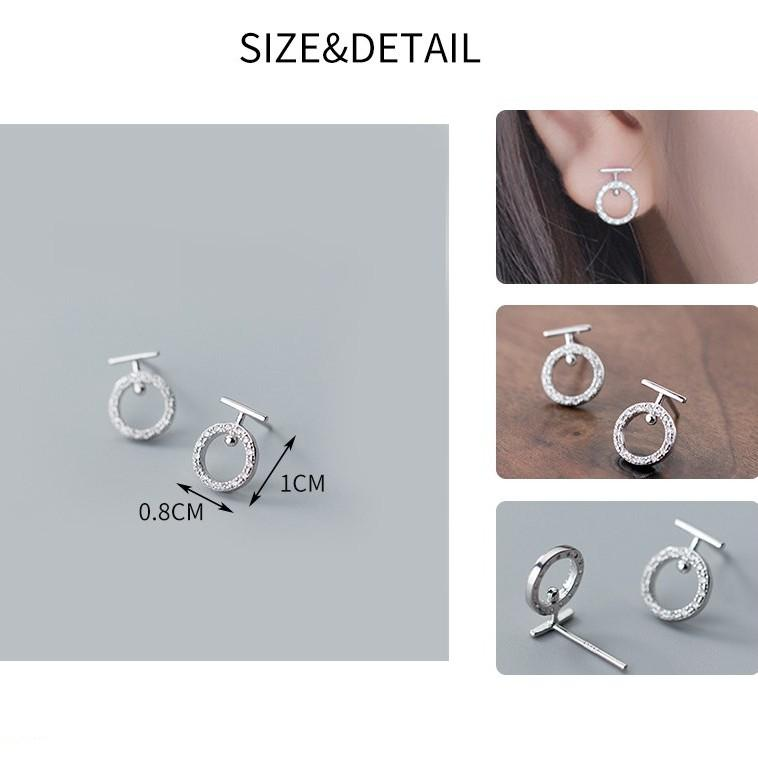 Sterling Silver Round Letter T Earrings - 925 Stud Earrings - 925 Real Silver Earrings - Playful Silver Earrings Lux & Rose