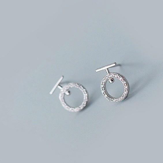 Sterling Silver Round Letter T Earrings - 925 Stud Earrings - 925 Real Silver Earrings - Playful Silver Earrings Lux & Rose Default Title