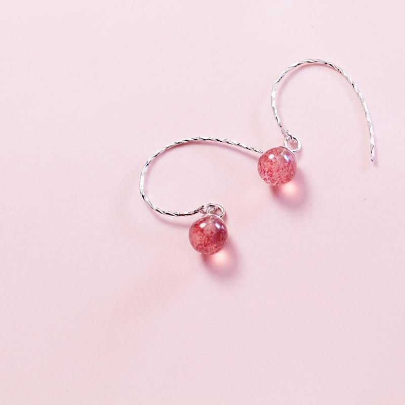 Sterling Silver Round Strawberry Quartz Earrings - 925 Real Silver Earrings - Playful Silver Earrings Lux & Rose