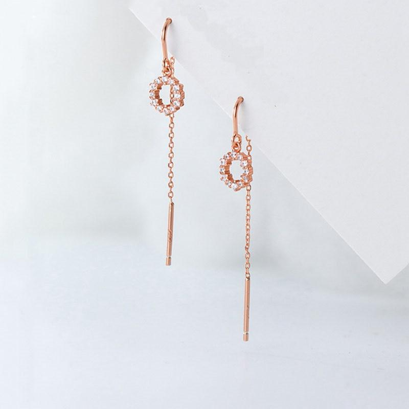 Sterling Silver Round Tassel Earrings - Dangle Earrings - 925 Real Silver Earrings - Playful Silver Earrings Lux & Rose Rose Gold