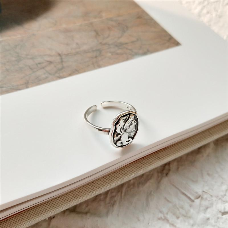 Sterling Silver Round Vintage Portrait Ring - 925 Real Silver Ring - Classic Silver Ring - Adjustable Cocktail Ring Lux & Rose