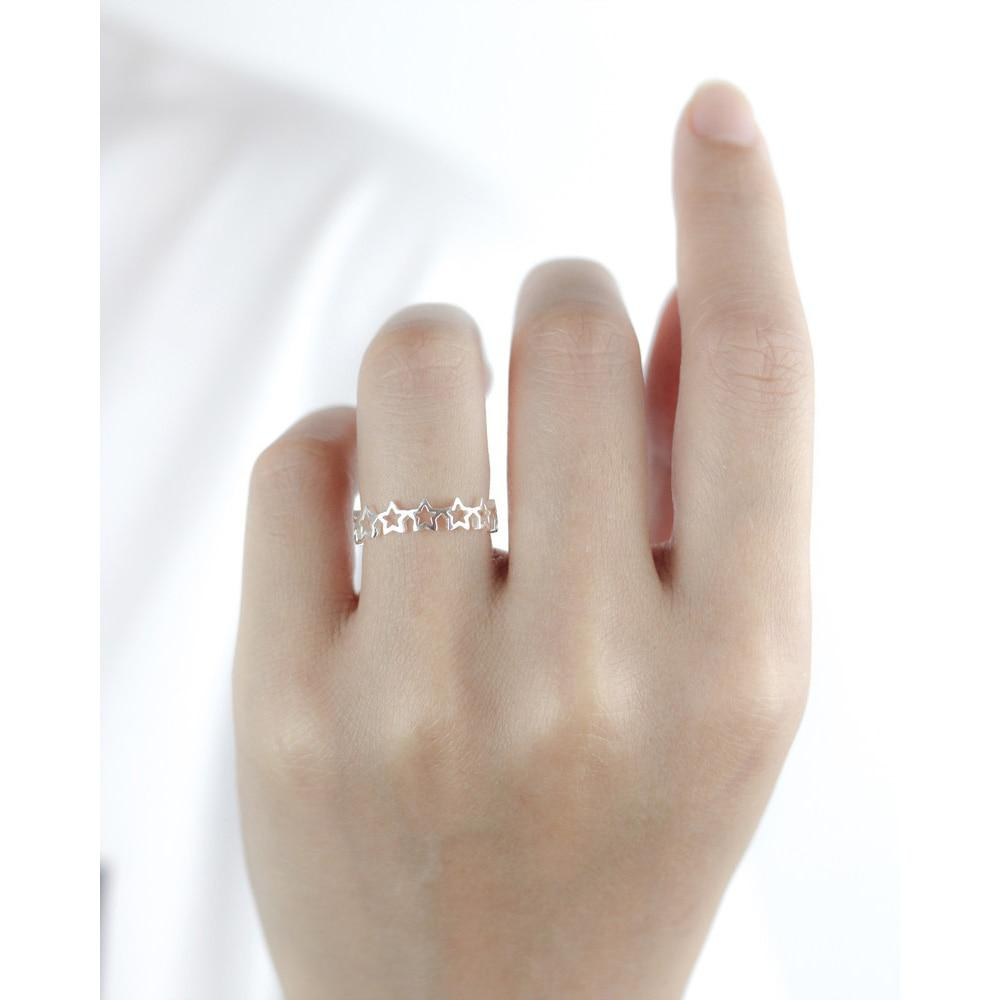 Sterling Silver Rounded Stars Ring - 925 Real Silver Ring - Classic Silver Ring - Adjustable Cocktail Ring Lux & Rose