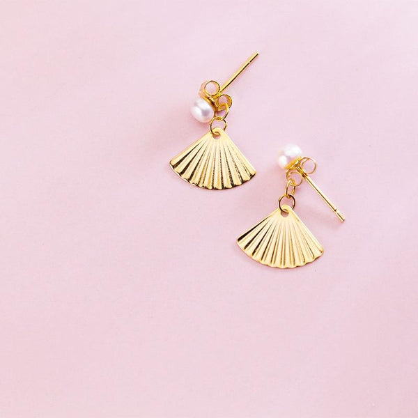Sterling Silver Seashell Earrings - Gold Plated Shell Earrings - 925 Real Silver Earrings - Playful Pearl Earrings - 925 Sterling Silver Dangle Earrings Lux & Rose