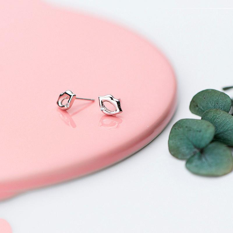 Sterling Silver Sexy Lips Earrings - 925 Stud Earrings - 925 Real Silver Earrings - Playful Silver Earrings Lux & Rose