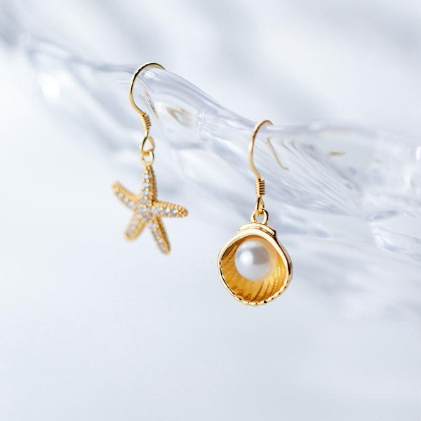 Sterling Silver Shell Starfish Earring - 925 Real Silver Asymmetrical Dangle Earrings - Cute Summer Beach Earrings Lux & Rose