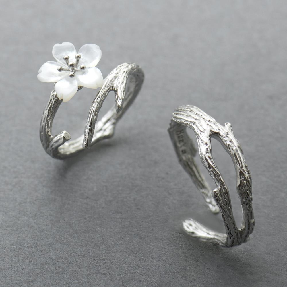 Sterling Silver Snow Sakura Rings - 925 Real Silver Rings - Classic Silver Rings - Adjustable Cocktail Rings Lux & Rose