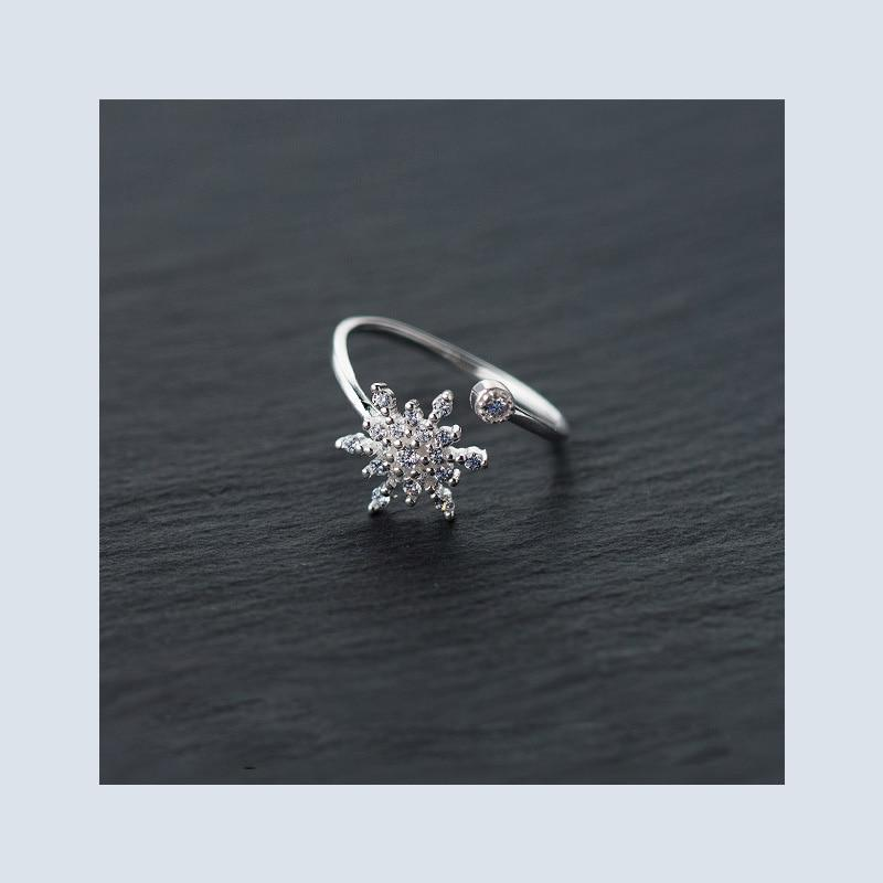 Sterling Silver Snowflake Ring - 925 Real Silver Ice Flower Ring - Classic Silver Snowflake Wrap Ring - Adjustable Silver Ring Lux & Rose