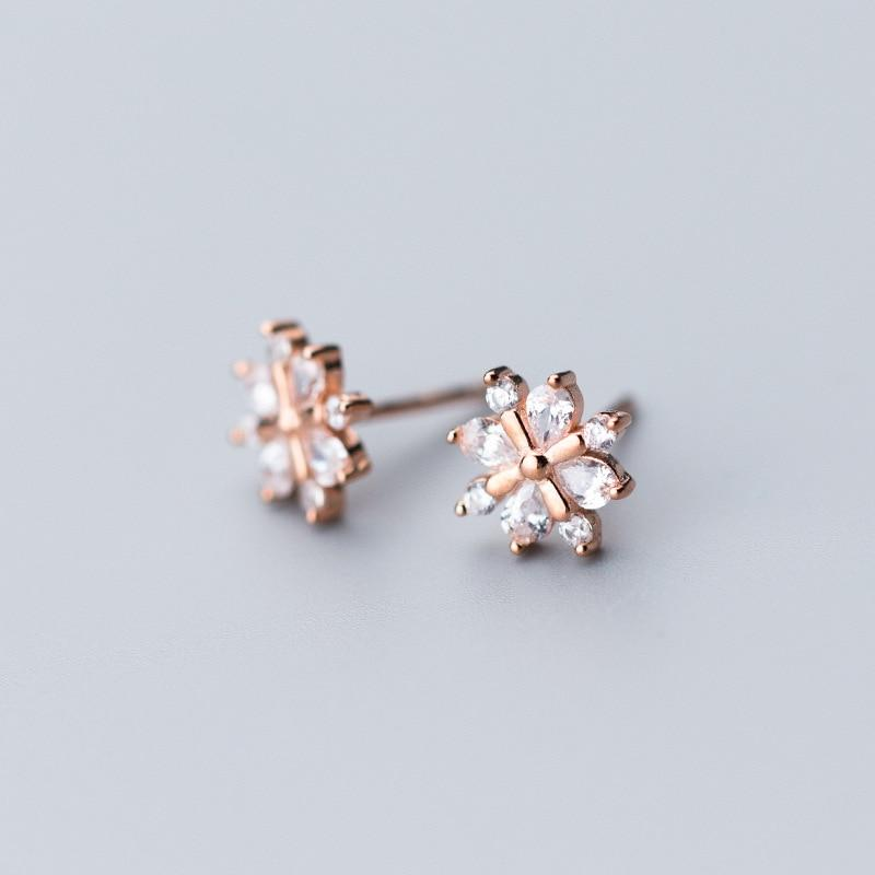 Sterling Silver Snowflake Stud Earrings - 925 Stud Earrings - 925 Real Silver Earrings - Playful Silver Earrings Lux & Rose Rose gold