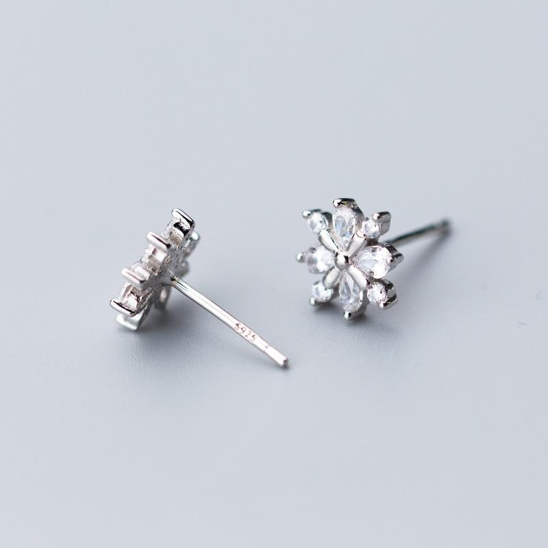 Sterling Silver Snowflake Stud Earrings - 925 Stud Earrings - 925 Real Silver Earrings - Playful Silver Earrings Lux & Rose Silver