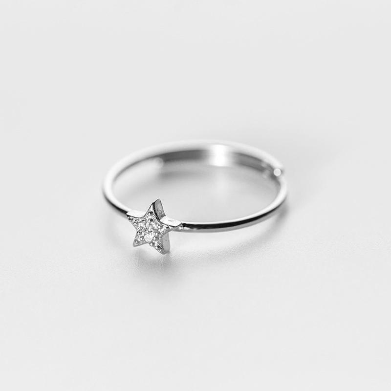 Sterling Silver Solid Star Ring - 925 Real Silver Ring - Classic Silver Ring - Adjustable Cocktail Ring Lux & Rose 1 Pcs Silver Resizable