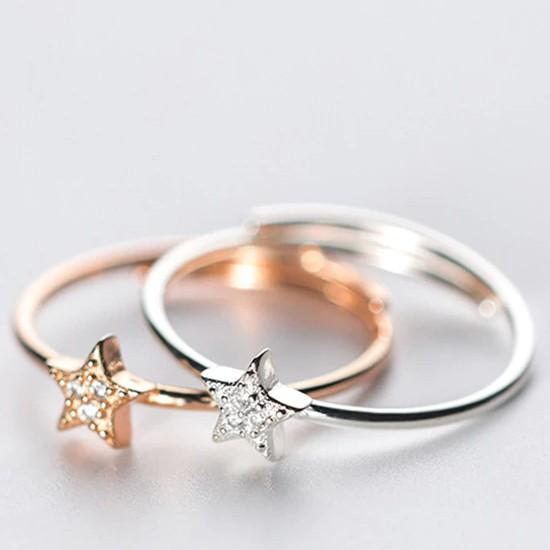 Sterling Silver Solid Star Ring - 925 Real Silver Ring - Classic Silver Ring - Adjustable Cocktail Ring Lux & Rose